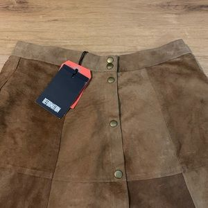 REFORMATION Brown suede skirt new
